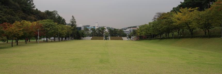 성지 초입 예전 로사리오 동산 자리에 새로 조성된 대형 잔디 광장.
