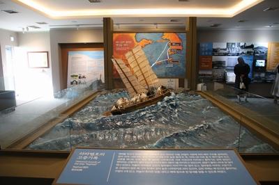 성 김대건 신부 제주표착 기념관 내부에는 라파엘호를 타고 항해하는 장면이 전시되어 있다.