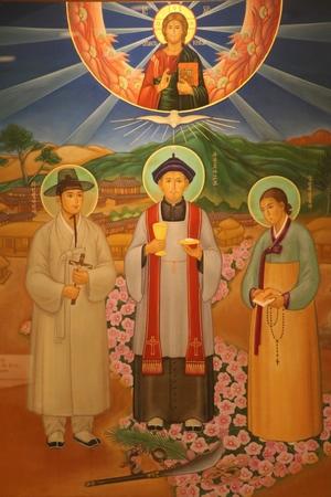 가회동 성당 역사전시실에 걸려 있는 삼위 복자화.