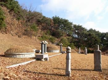 의령 남씨 가족 묘소 전경. 이곳에 남종삼 성인과 부인 이조이 순교자, 부친 남상교 순교자, 막내아들 남규희의 묘가 있다.